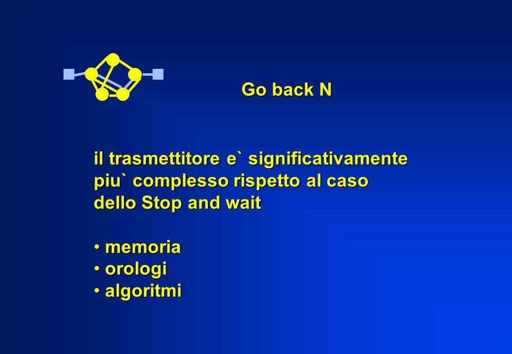 Go back N il trasmettitore e` significativamente. piu` complesso rispetto al caso. dello Stop and wait.