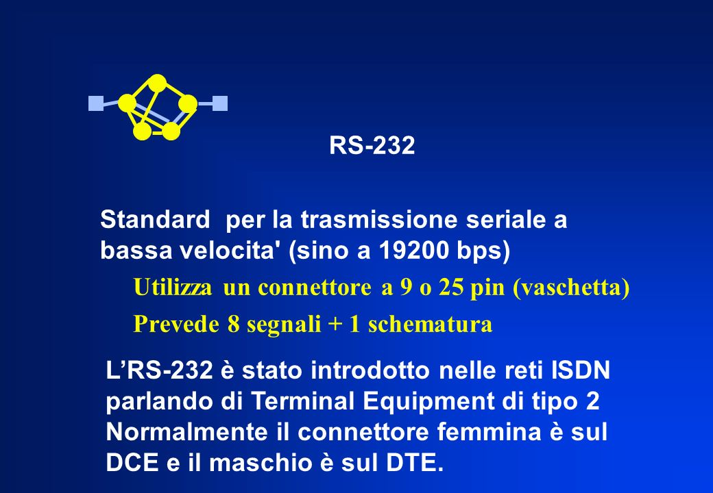 RS-232Standard per la trasmissione seriale a bassa velocita (sino a 19200 bps) Utilizza un connettore a 9 o 25 pin (vaschetta)