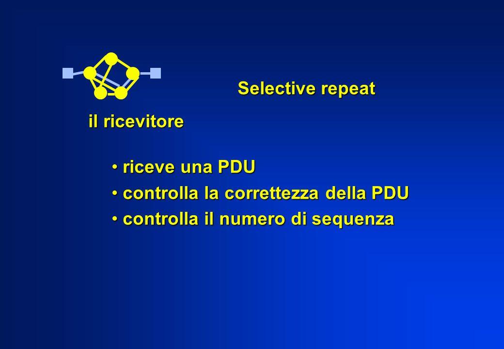 Selective repeat il ricevitore. riceve una PDU. controlla la correttezza della PDU.