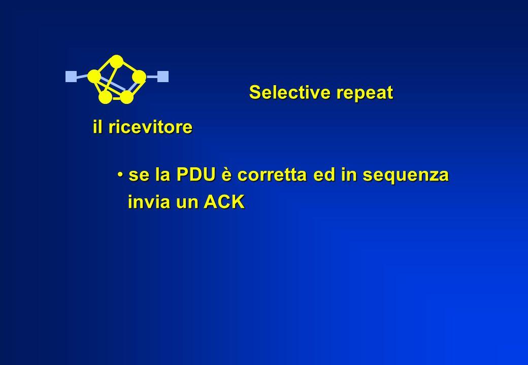 Selective repeat il ricevitore se la PDU è corretta ed in sequenza invia un ACK