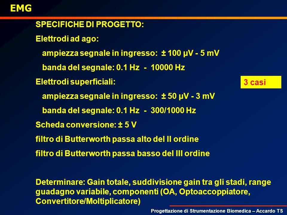 EMG SPECIFICHE DI PROGETTO: Elettrodi ad ago: