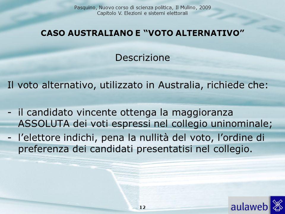 CASO AUSTRALIANO E VOTO ALTERNATIVO