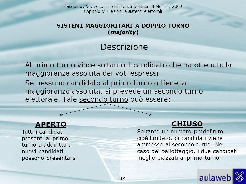SISTEMI MAGGIORITARI A DOPPIO TURNO (majority)
