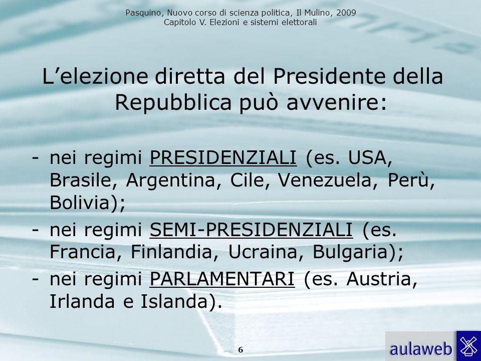 L'elezione diretta del Presidente della Repubblica può avvenire: