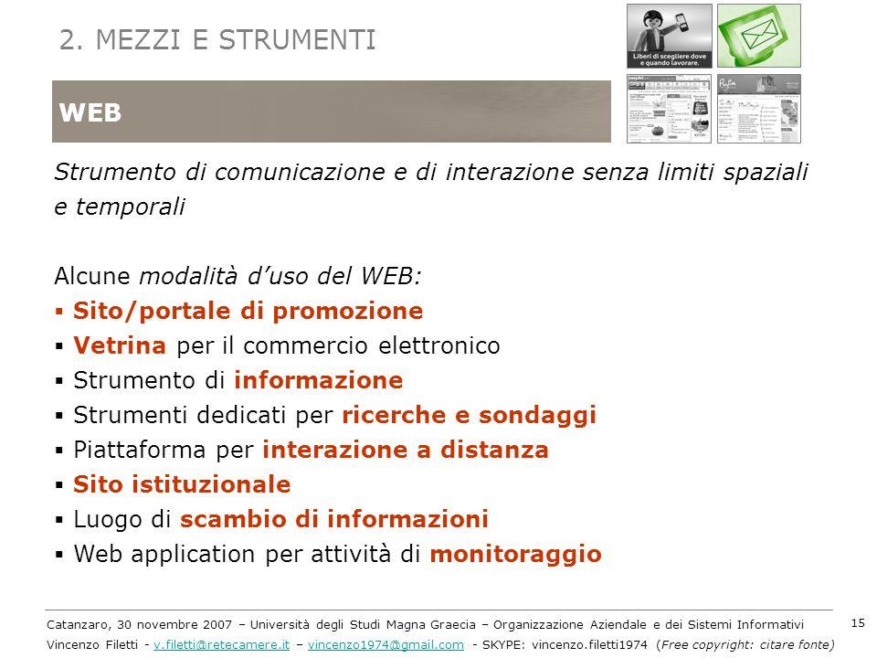 2. MEZZI E STRUMENTI WEB. Strumento di comunicazione e di interazione senza limiti spaziali e temporali.