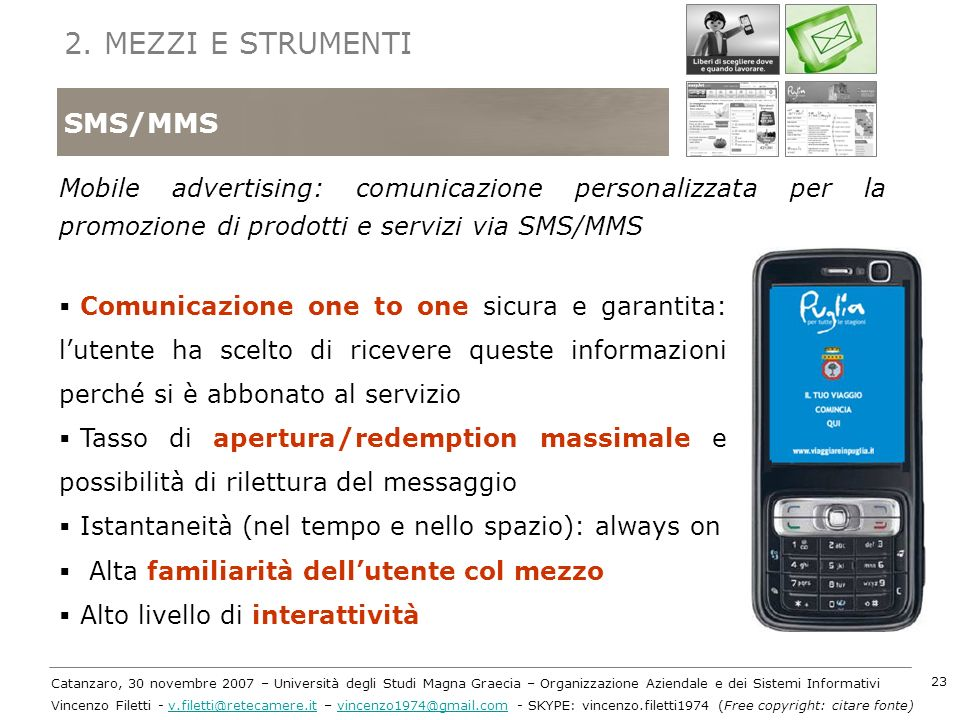 2. MEZZI E STRUMENTI SMS/MMS