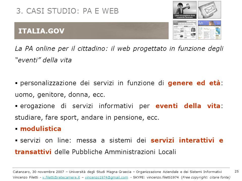 3. CASI STUDIO: PA E WEB ITALIA.GOV