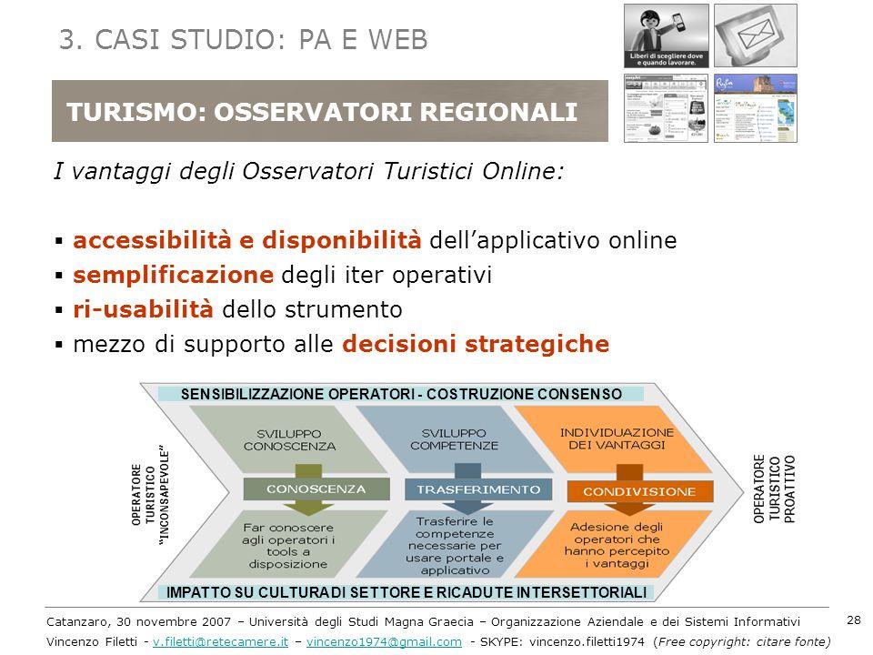 3. CASI STUDIO: PA E WEB TURISMO: OSSERVATORI REGIONALI