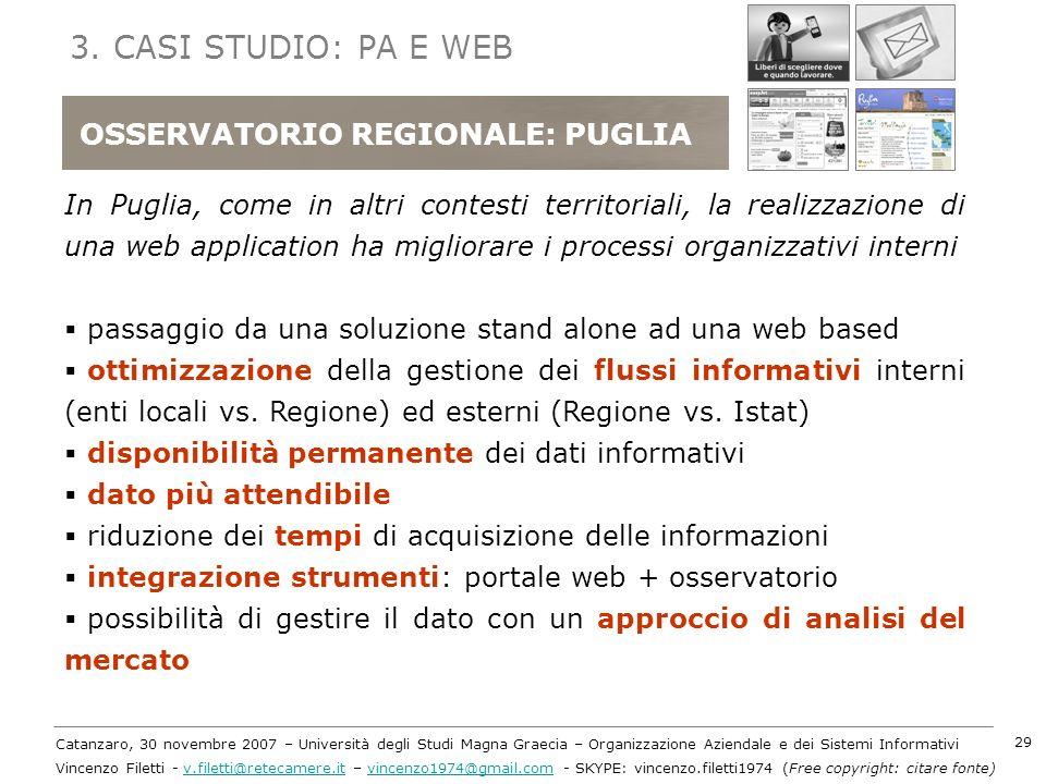 3. CASI STUDIO: PA E WEB OSSERVATORIO REGIONALE: PUGLIA