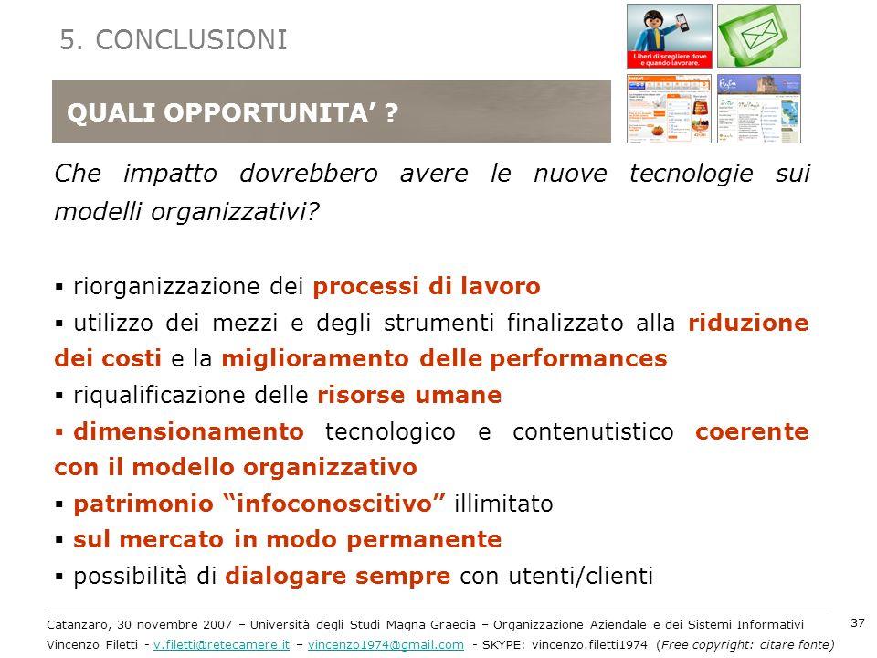 5. CONCLUSIONI QUALI QUALI OPPORTUNITA'