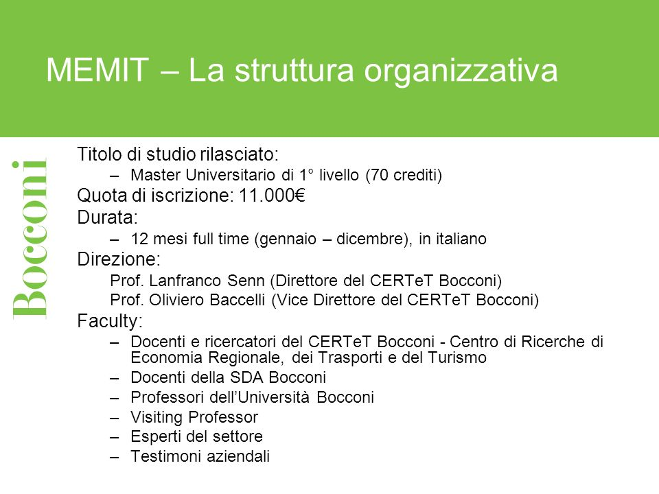 MEMIT – La struttura organizzativa
