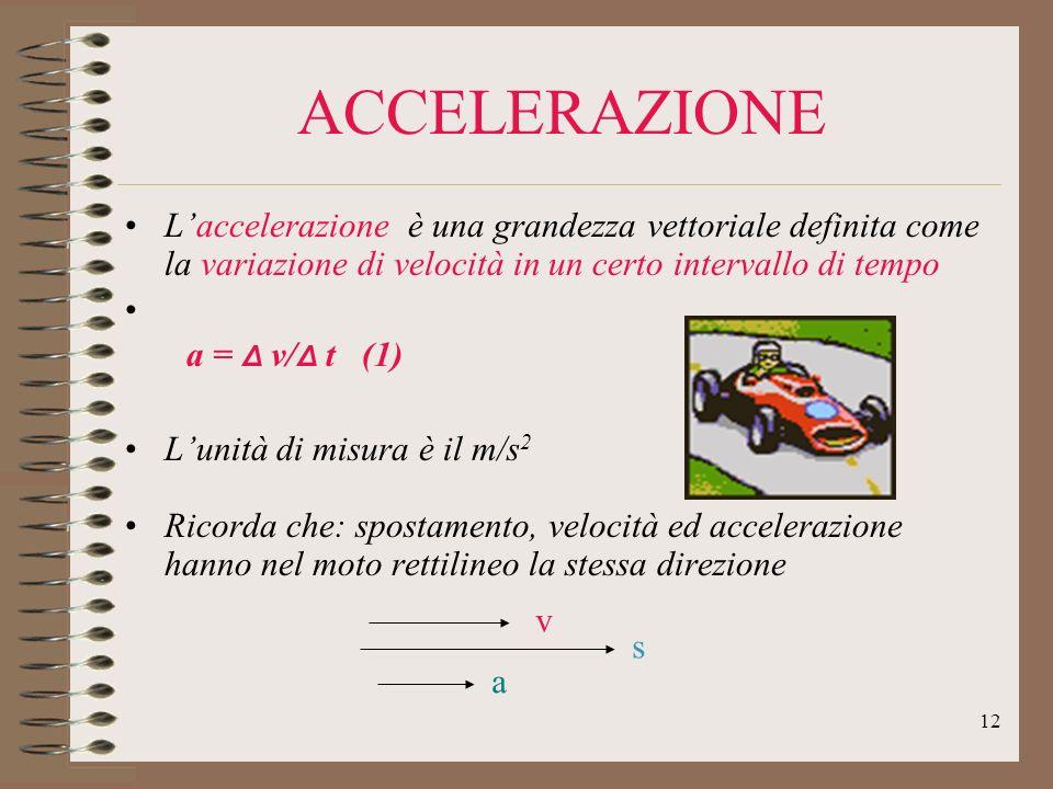 ACCELERAZIONE L'accelerazione è una grandezza vettoriale definita come la variazione di velocità in un certo intervallo di tempo.