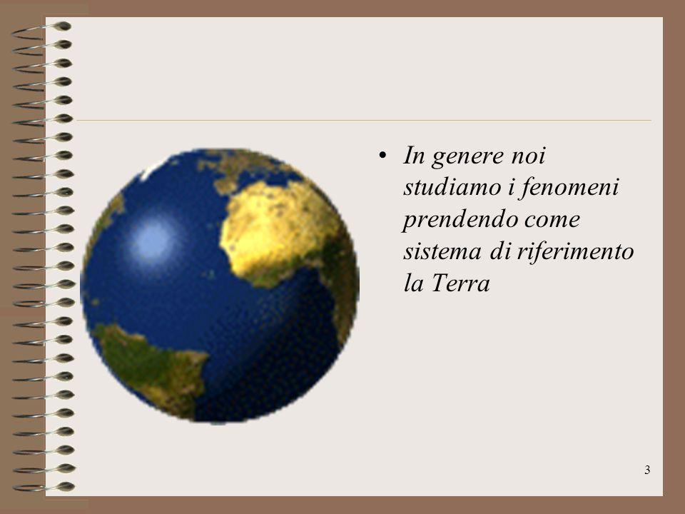 In genere noi studiamo i fenomeni prendendo come sistema di riferimento la Terra