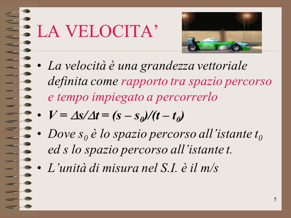 LA VELOCITA' La velocità è una grandezza vettoriale definita come rapporto tra spazio percorso e tempo impiegato a percorrerlo.
