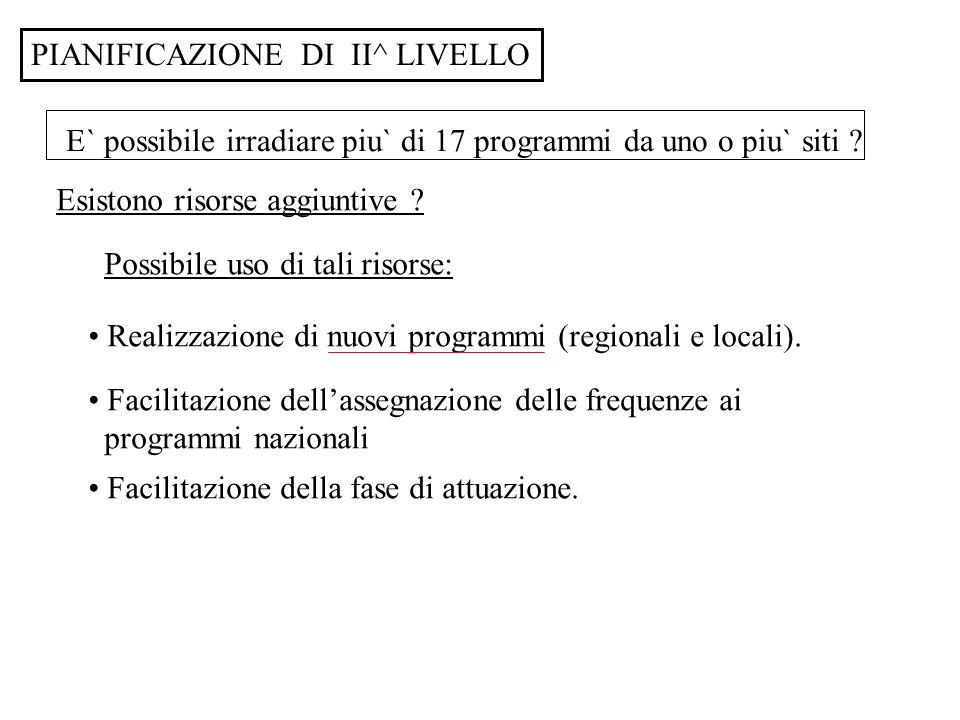 PIANIFICAZIONE DI II^ LIVELLO