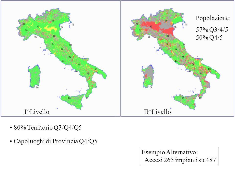 I^LivelloII^Livello. Popolazione: 57% Q3/4/5. 50% Q4/5. 80% Territorio Q3/Q4/Q5. Capoluoghi di Provincia Q4/Q5.