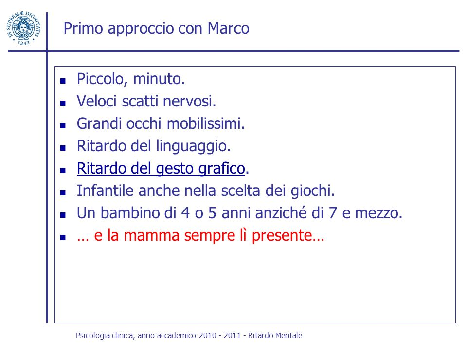 Primo approccio con Marco