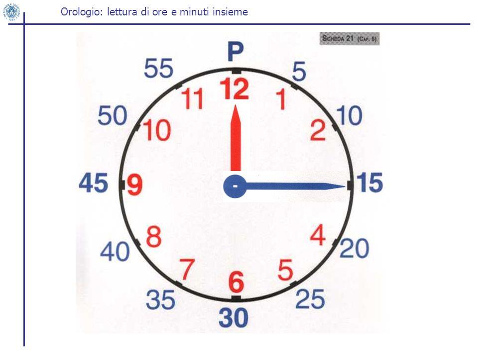 Orologio: lettura di ore e minuti insieme