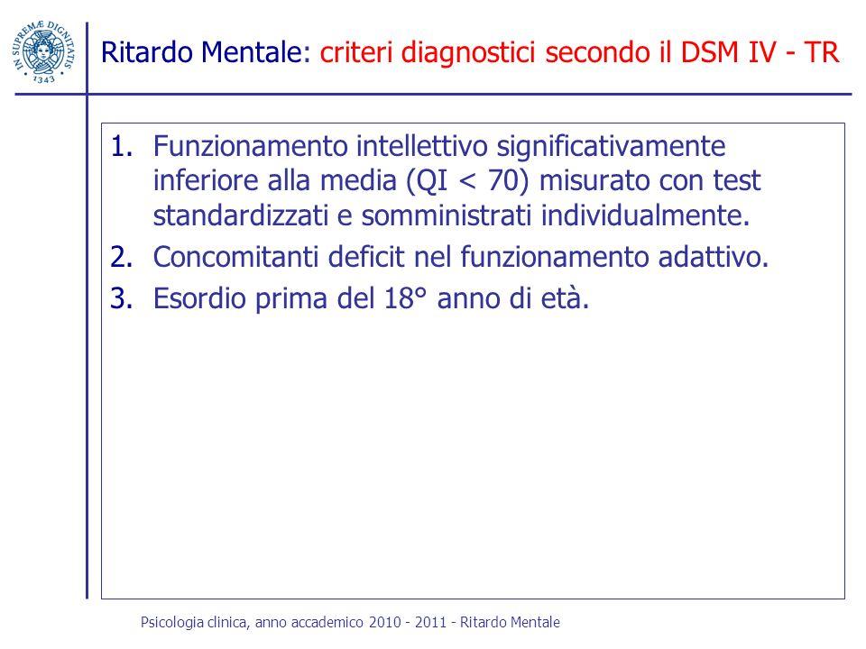 Ritardo Mentale: criteri diagnostici secondo il DSM IV - TR