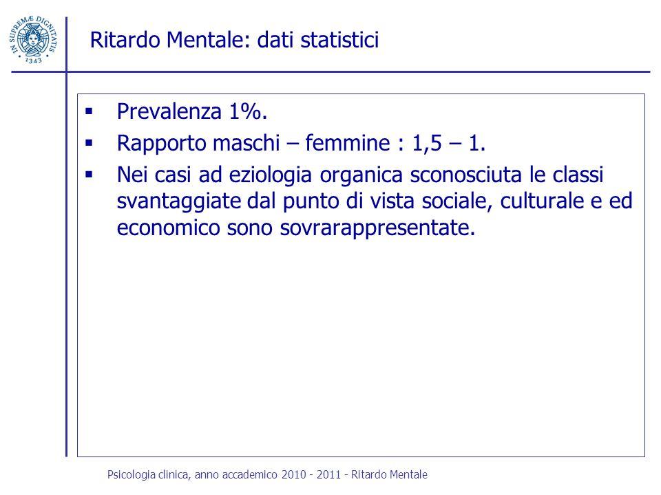 Ritardo Mentale: dati statistici