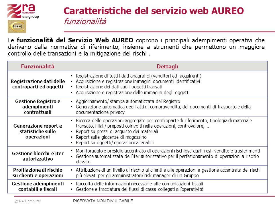 Caratteristiche del servizio web AUREO