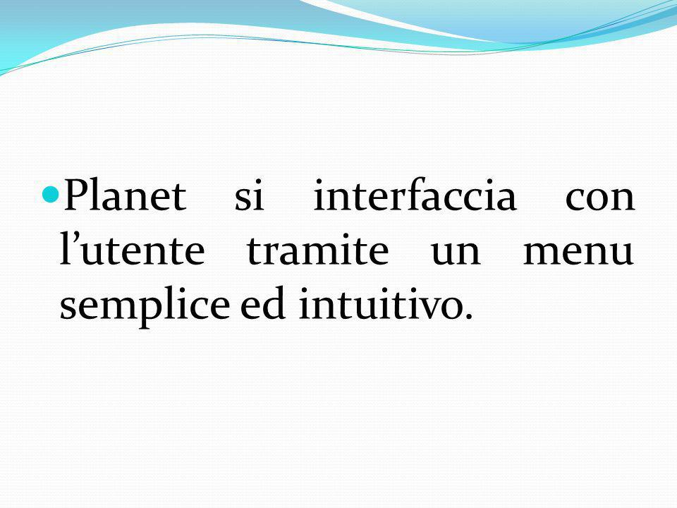 Planet si interfaccia con l'utente tramite un menu semplice ed intuitivo.