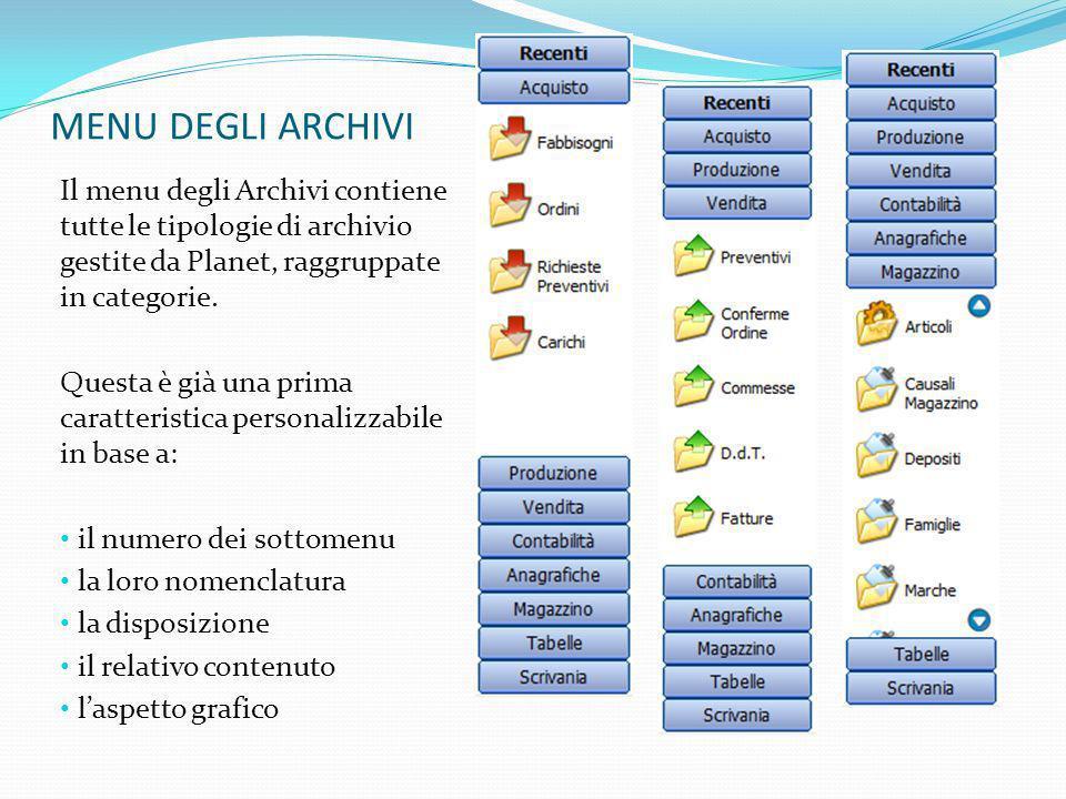 MENU DEGLI ARCHIVIIl menu degli Archivi contiene tutte le tipologie di archivio gestite da Planet, raggruppate in categorie.