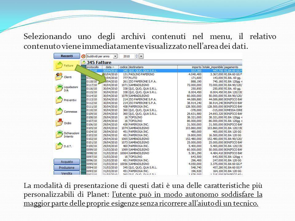 Selezionando uno degli archivi contenuti nel menu, il relativo contenuto viene immediatamente visualizzato nell'area dei dati.