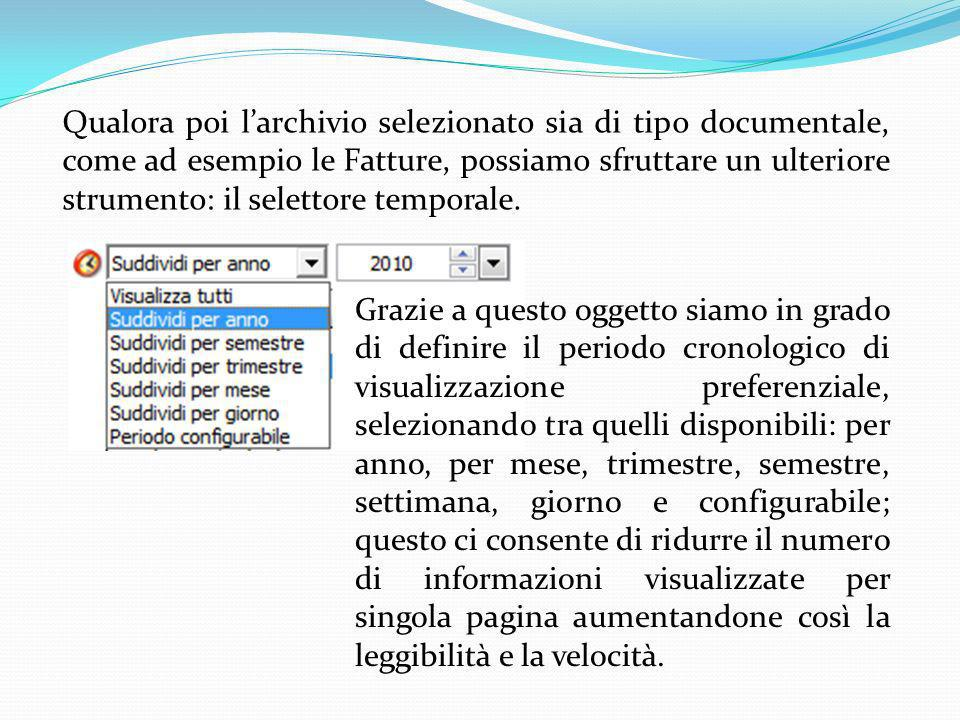 Qualora poi l'archivio selezionato sia di tipo documentale, come ad esempio le Fatture, possiamo sfruttare un ulteriore strumento: il selettore temporale.