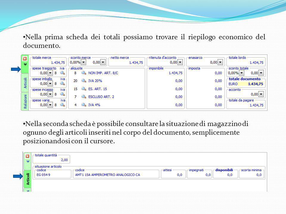 Nella prima scheda dei totali possiamo trovare il riepilogo economico del documento.