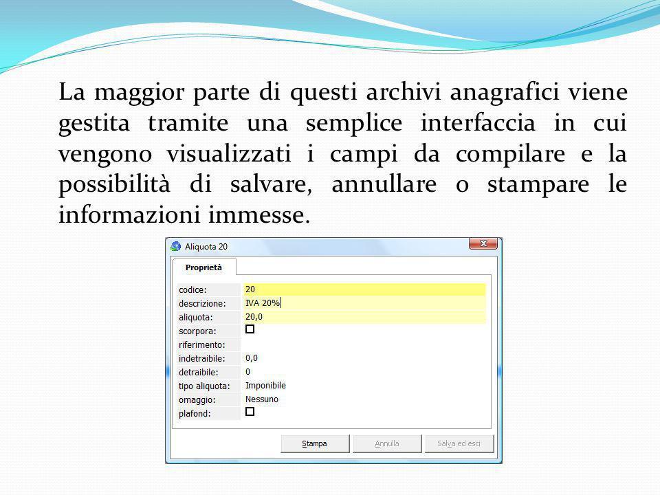 La maggior parte di questi archivi anagrafici viene gestita tramite una semplice interfaccia in cui vengono visualizzati i campi da compilare e la possibilità di salvare, annullare o stampare le informazioni immesse.