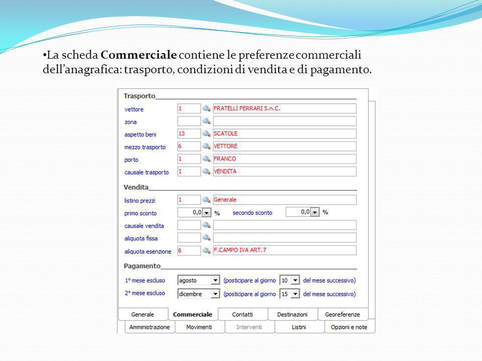 La scheda Commerciale contiene le preferenze commerciali dell'anagrafica: trasporto, condizioni di vendita e di pagamento.