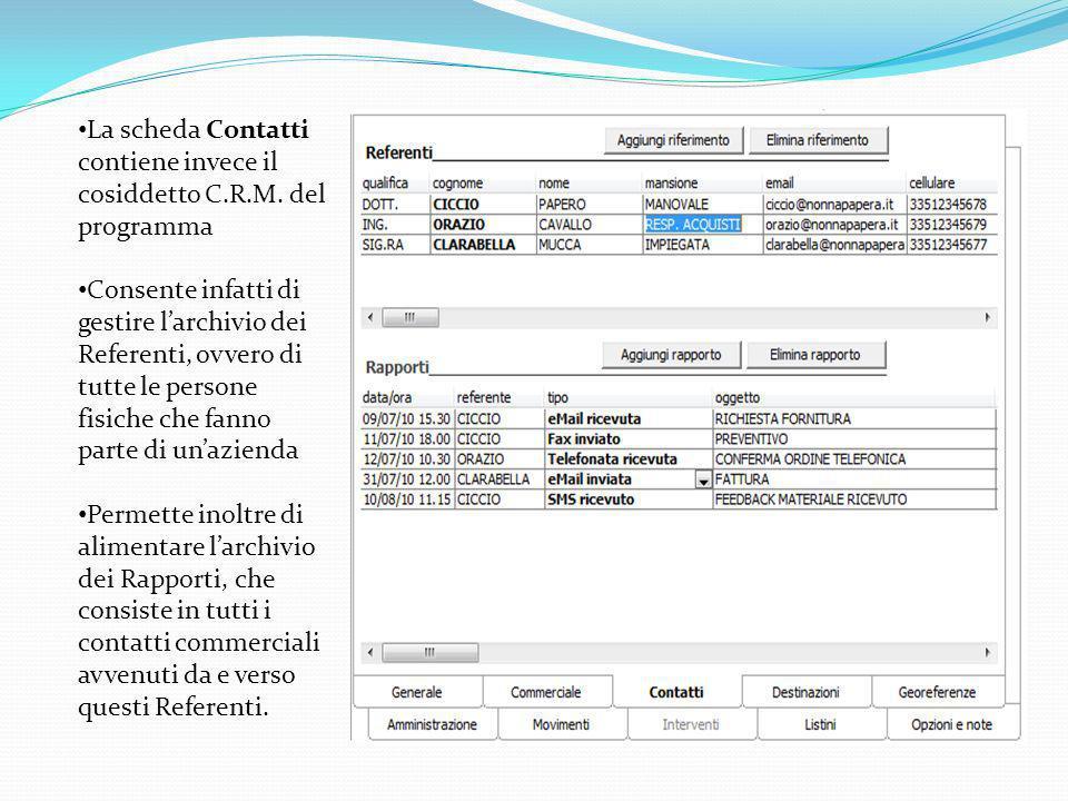 La scheda Contatti contiene invece il cosiddetto C.R.M. del programma