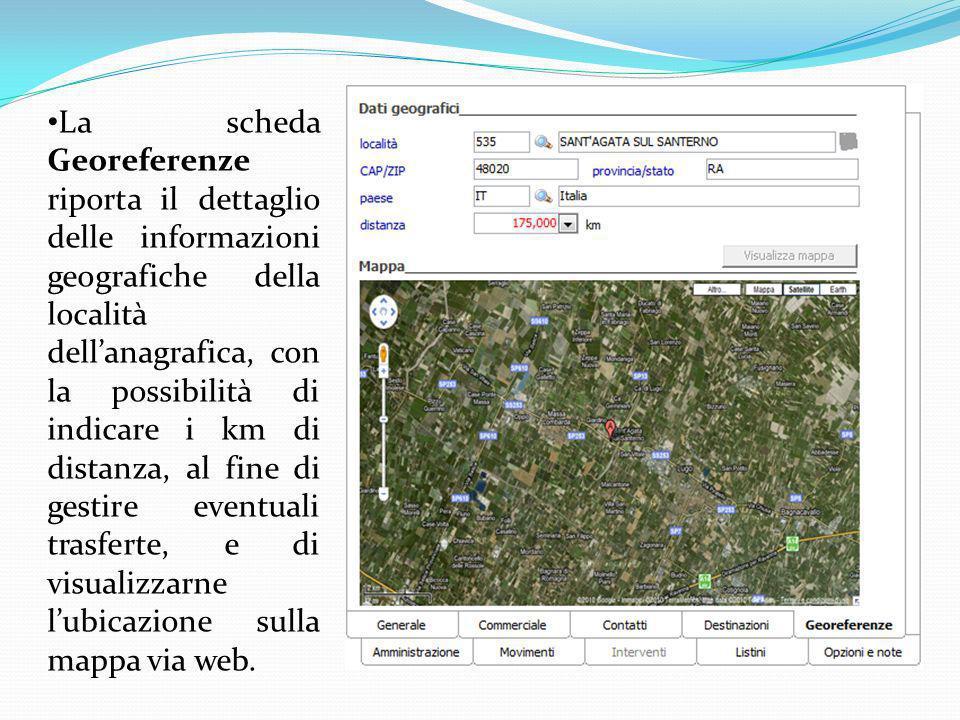 La scheda Georeferenze riporta il dettaglio delle informazioni geografiche della località dell'anagrafica, con la possibilità di indicare i km di distanza, al fine di gestire eventuali trasferte, e di visualizzarne l'ubicazione sulla mappa via web.