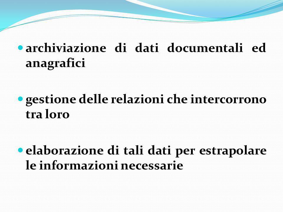 archiviazione di dati documentali ed anagrafici