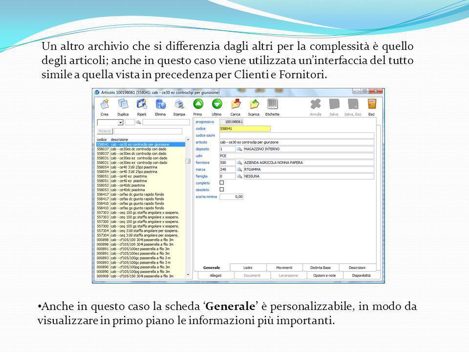 Un altro archivio che si differenzia dagli altri per la complessità è quello degli articoli; anche in questo caso viene utilizzata un'interfaccia del tutto simile a quella vista in precedenza per Clienti e Fornitori.