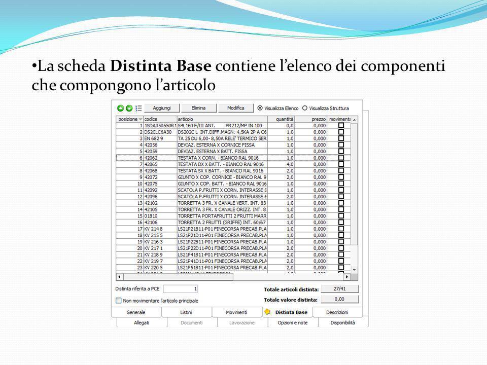 La scheda Distinta Base contiene l'elenco dei componenti che compongono l'articolo