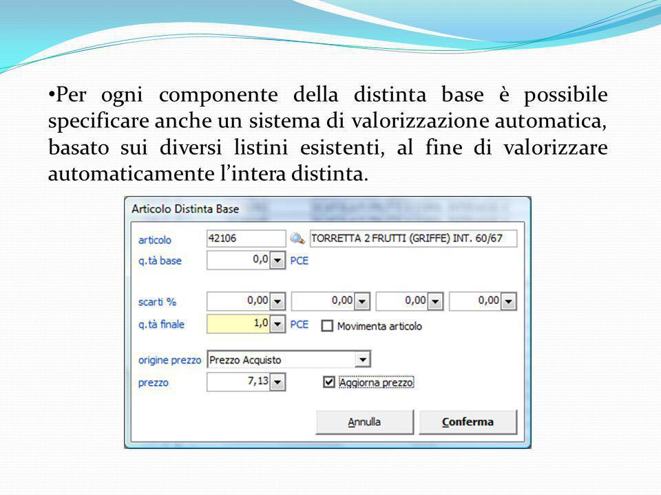 Per ogni componente della distinta base è possibile specificare anche un sistema di valorizzazione automatica, basato sui diversi listini esistenti, al fine di valorizzare automaticamente l'intera distinta.