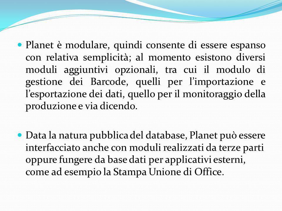Planet è modulare, quindi consente di essere espanso con relativa semplicità; al momento esistono diversi moduli aggiuntivi opzionali, tra cui il modulo di gestione dei Barcode, quelli per l'importazione e l'esportazione dei dati, quello per il monitoraggio della produzione e via dicendo.