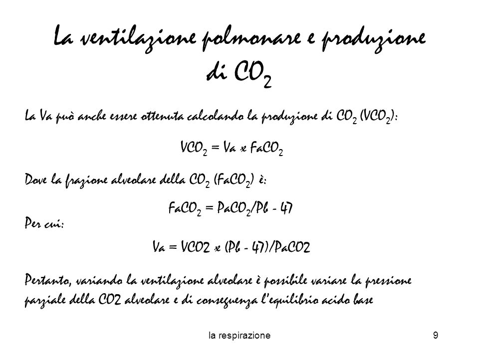La ventilazione polmonare e produzione di CO2