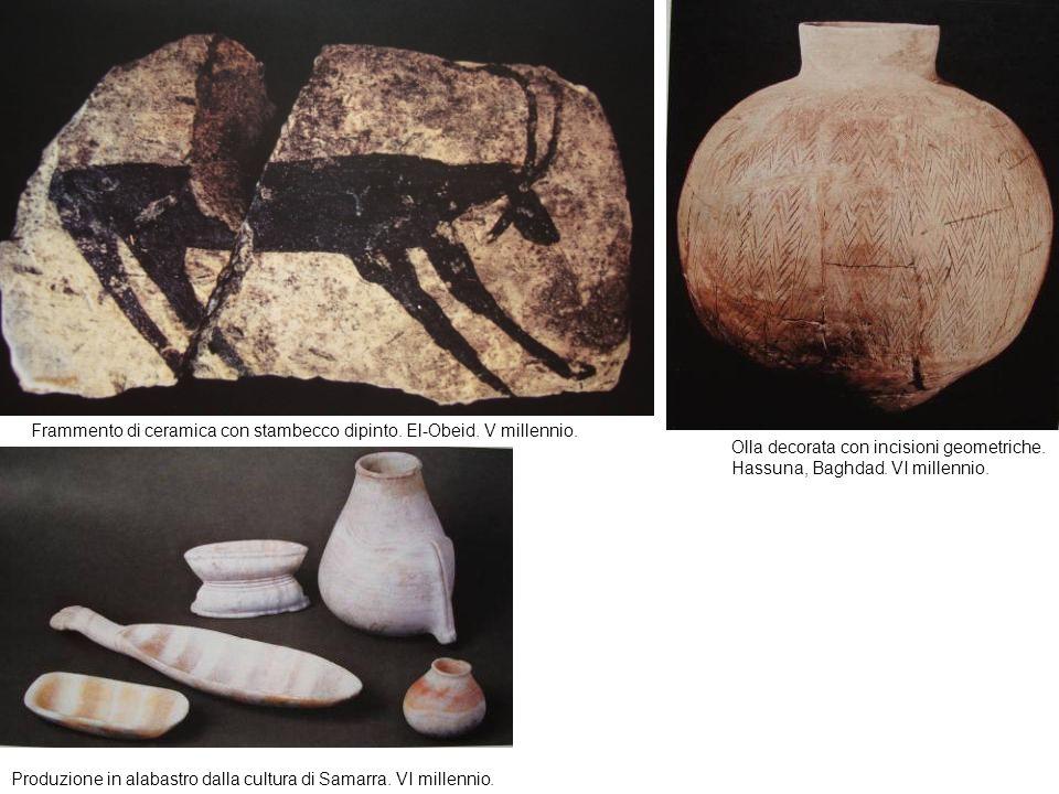 Frammento di ceramica con stambecco dipinto. El-Obeid. V millennio.