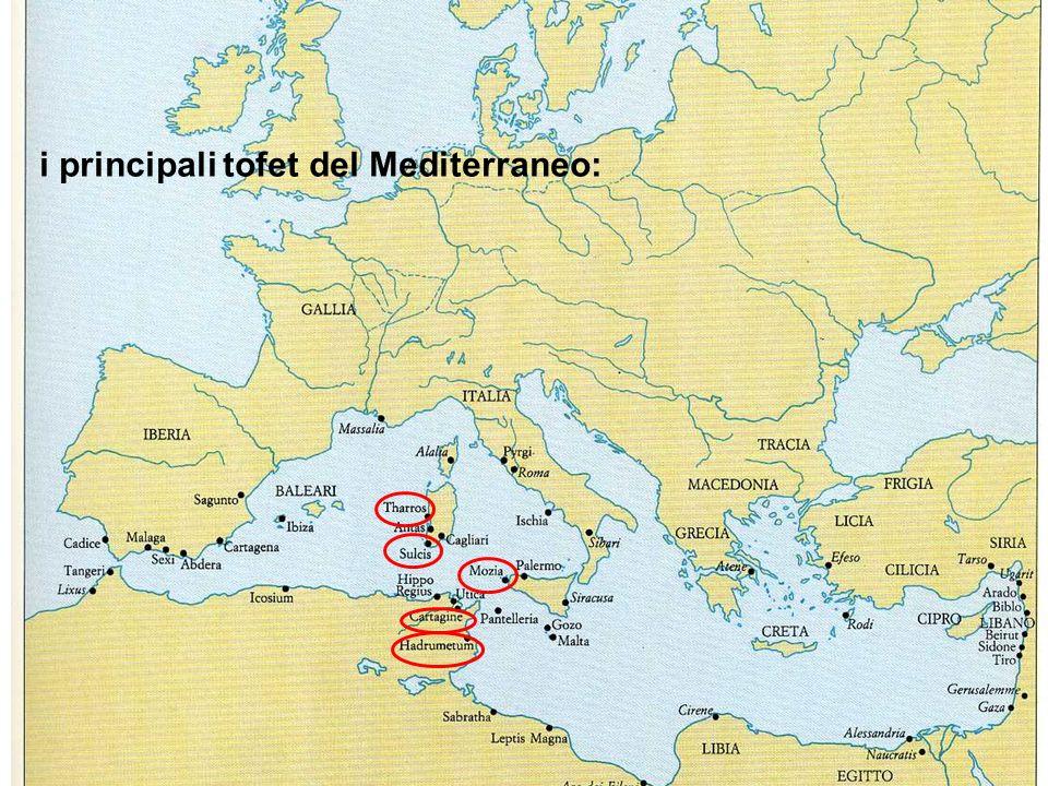 i principali tofet del Mediterraneo: