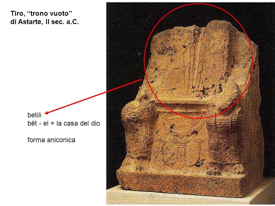 Tiro, trono vuoto di Astarte, II sec. a.C. betili bêt - el = la casa del dio forma aniconica