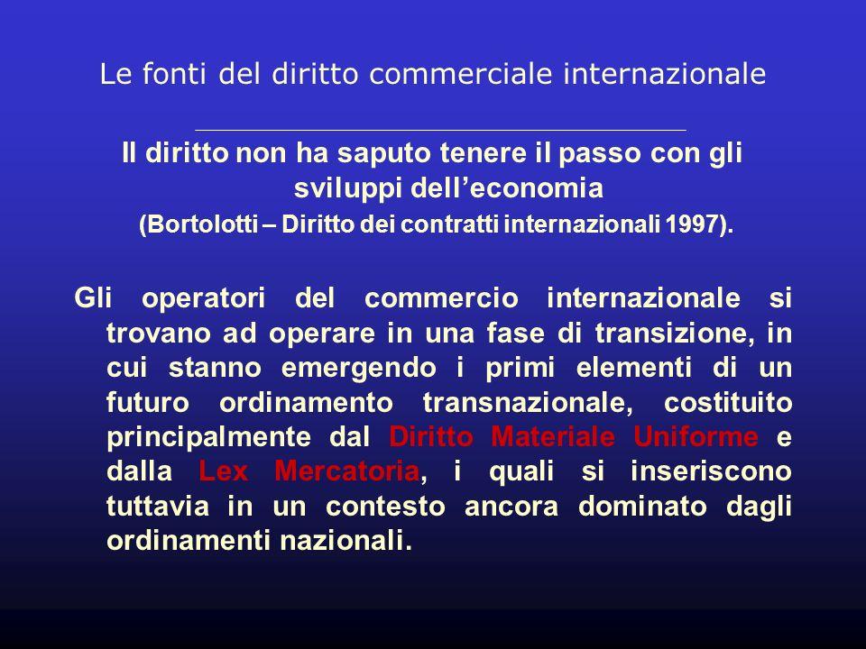 Le fonti del diritto commerciale internazionale