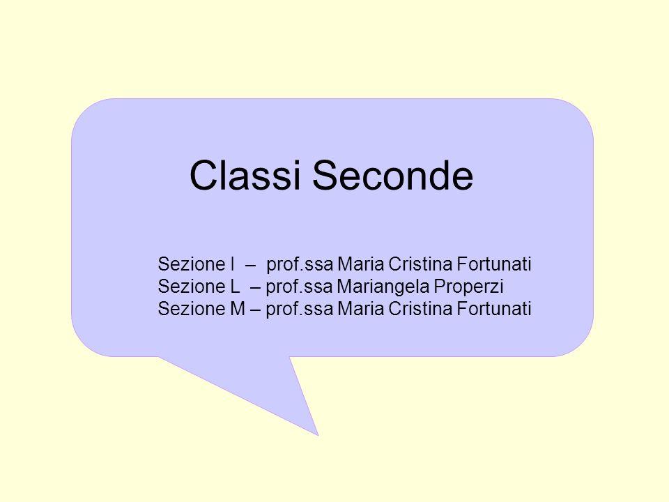 Classi Seconde Sezione I – prof.ssa Maria Cristina Fortunati