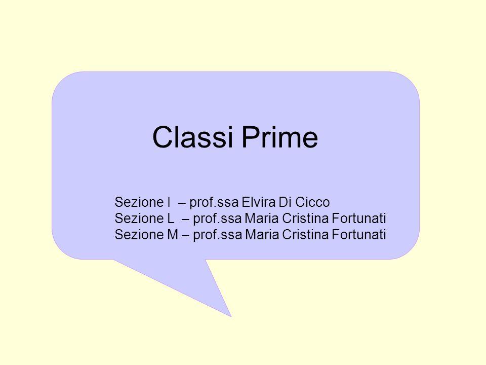 Classi Prime Sezione I – prof.ssa Elvira Di Cicco