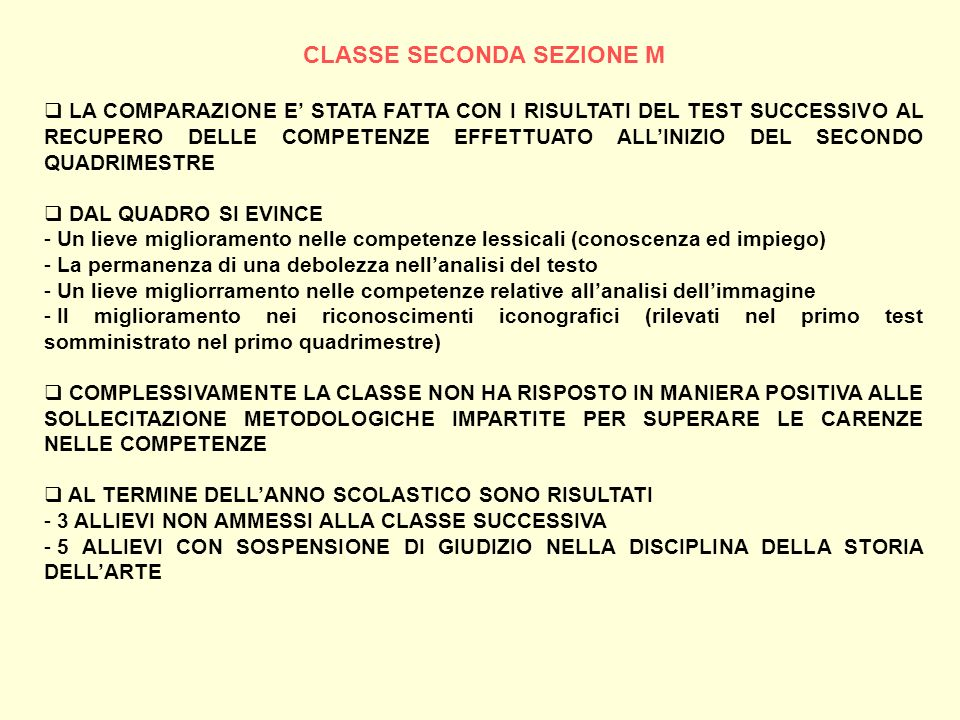 CLASSE SECONDA SEZIONE M