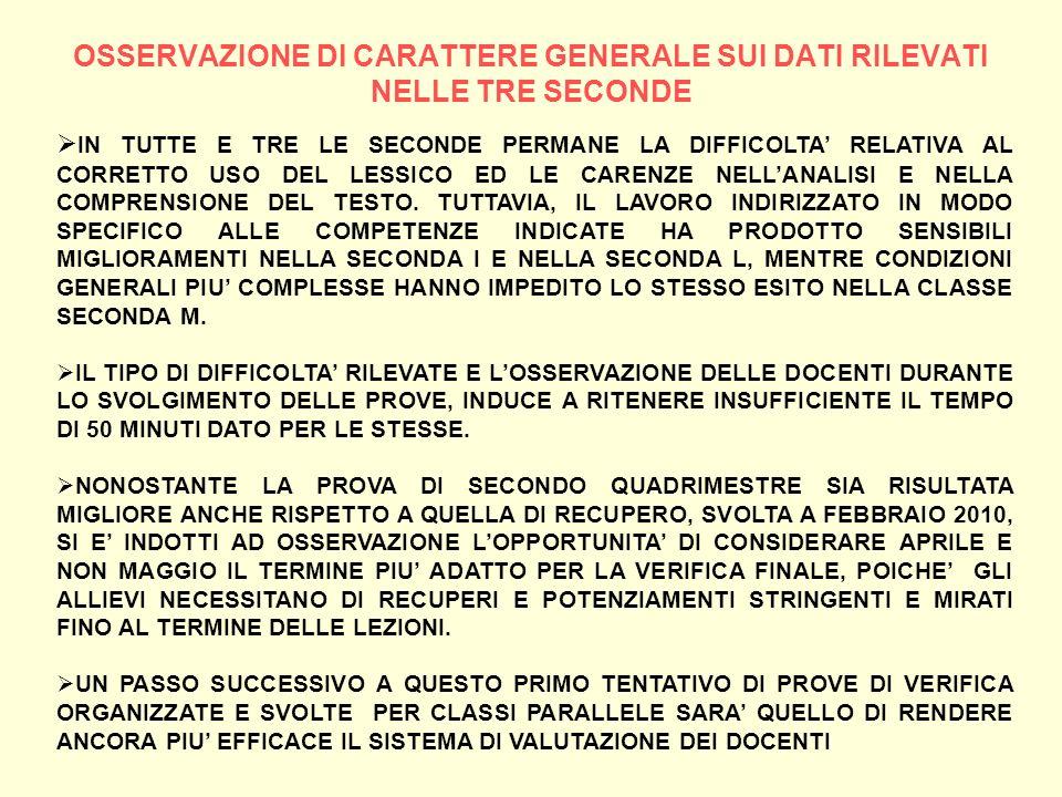 OSSERVAZIONE DI CARATTERE GENERALE SUI DATI RILEVATI NELLE TRE SECONDE