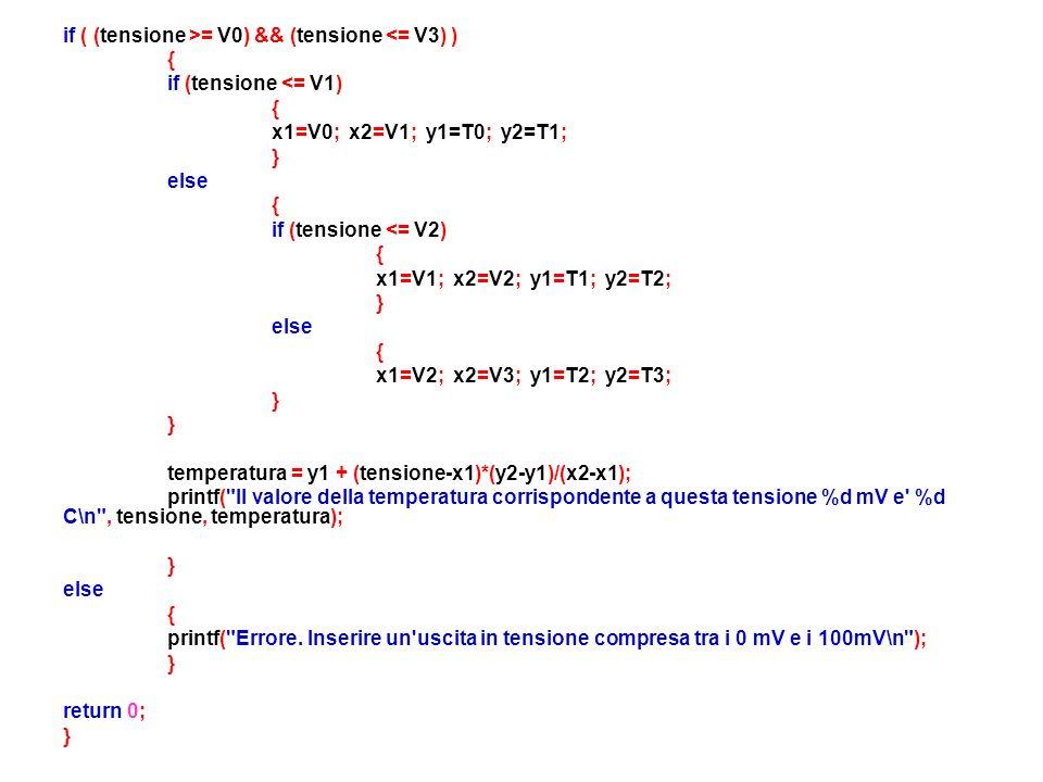 if ( (tensione >= V0) && (tensione <= V3) )