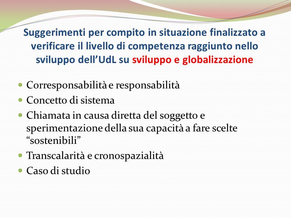 Suggerimenti per compito in situazione finalizzato a verificare il livello di competenza raggiunto nello sviluppo dell'UdL su sviluppo e globalizzazione